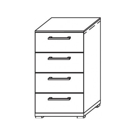 X Tend 4 Drawer Cupboard With Carcase Coloured Handle