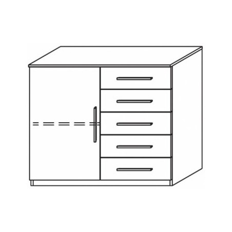 Venice 1 Door 5 Drawer Combi Chest Wood Finish With Base Product Code: VEN1D5DCCWFB