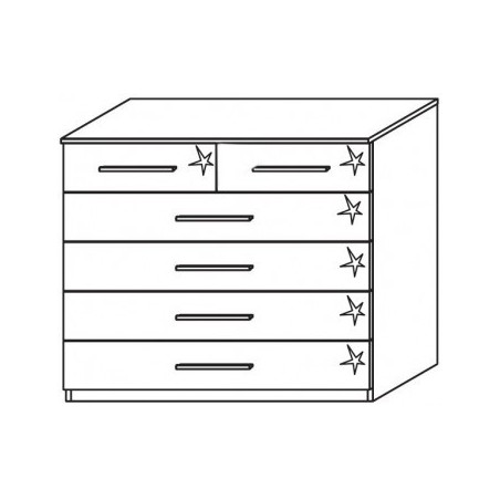 Venice 2+4 Drawer Combi Chest Front High Polish With Base Product Code: VEN2+4DCCHPFB