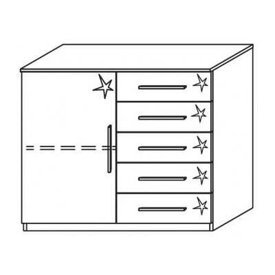 Venice 1 Door 5 Drawer Combi Chest Front High Polish With Base Product Code: VEN1D5DCCHPFB