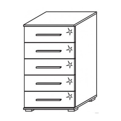 Venice 5 Drawer Chest Front High Polish With Low Feet Product Code: VEN5DCHPFLF