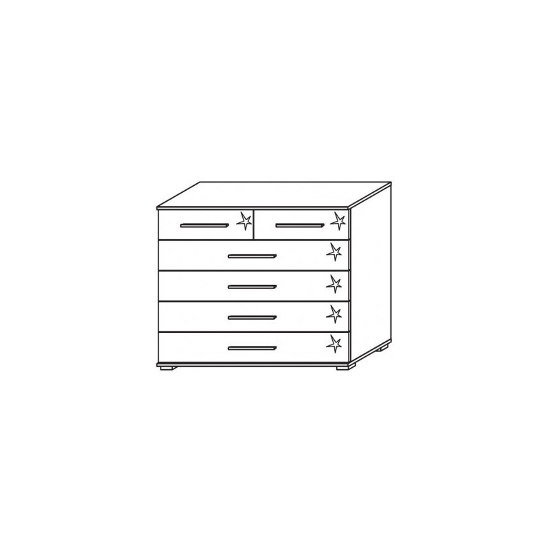 Venice 2+4 Drawer Combi Chest Front High Polish With Low Feet Product Code: VEN2+4DCCHPFLF
