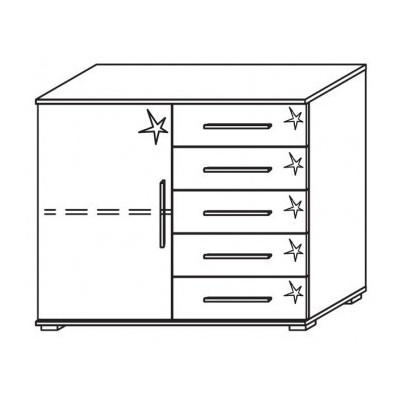 Venice 1 Door 5 Drawer Combi Chest Front High Polish With Low Feet Product Code: VEN1D5DCCHPFLF