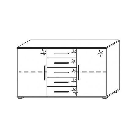 Venice 2 Door 5 Drawer Combi Chest Front High Polish With Low Feet Product Code: VEN2D5DCCHPFLF
