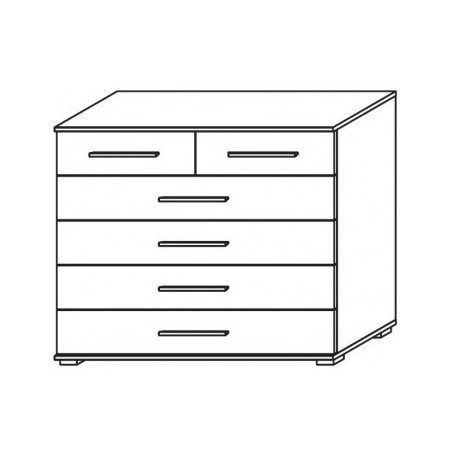Venice 2+4 Drawer Combi Chest Front Glass Overlay With Low Feet Product Code: VEN2+4DCCGOFLF