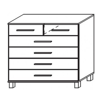 Venice 2+4 Drawer Combi Chest Wood Finish With High Feet Product Code: VEN2+4DCCWFHF