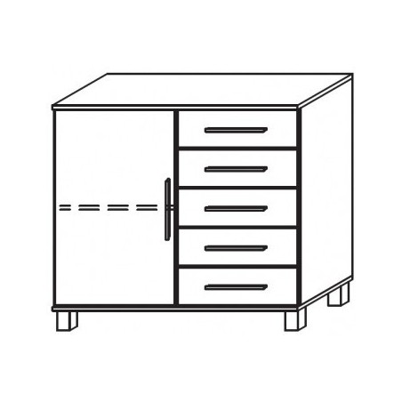 Venice 1 Door 5 Drawer Combi Chest Wood Finish With High Feet Product Code: VEN1D5DCCWFHF