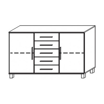 Venice 2 Door 5 Drawer Combi Chest Wood Finish With High Feet Product Code: VEN2D5DCCWFHF
