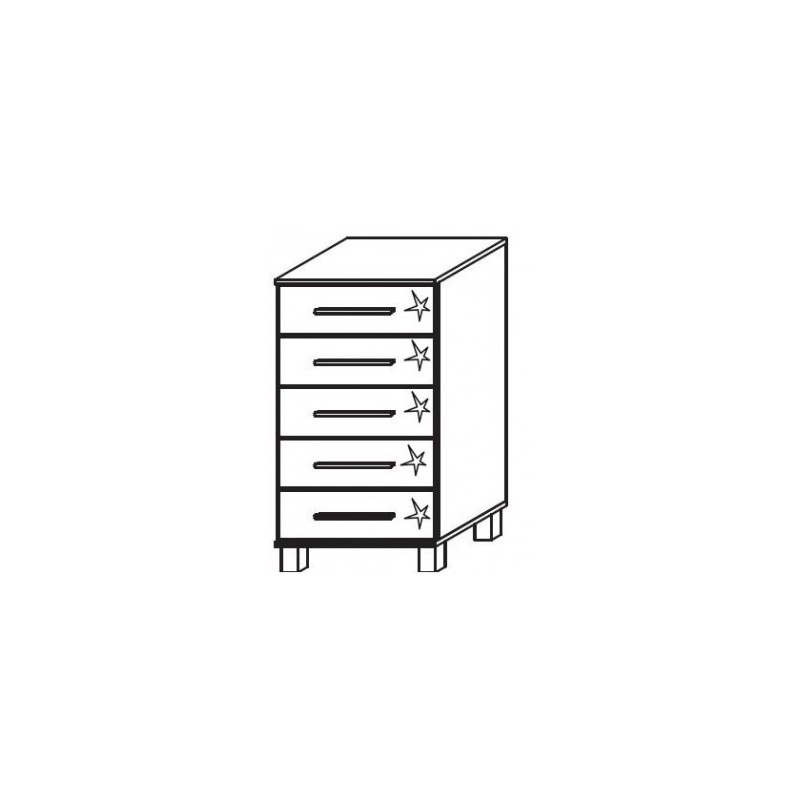 Venice 5 Drawer Chest Front High Polish With High Feet Product Code: VEN5DCHPFHF