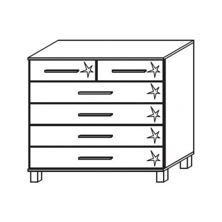 Venice 2+4 Drawer Combi Chest Front High Polish With High Feet Product Code: VEN2+4DCCHPFHF