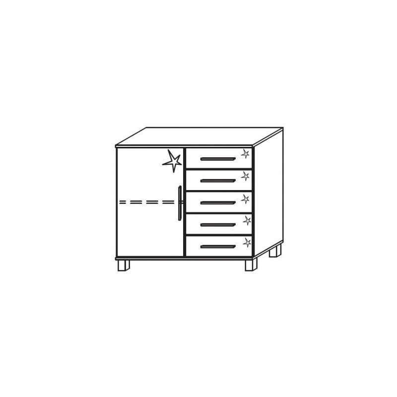 Venice 1 Door 5 Drawer Combi Chest Front High Polish With High Feet Product Code: VEN1D5DCCHPFHF