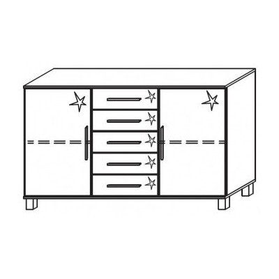 Venice 2 Door 5 Drawer Combi Chest Front High Polish With High Feet Product Code: VEN2D5DCCHPFHF