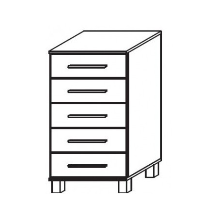 Venice 5 Drawer Chest Front Glass Overlay With High Feet Product Code: VEN5DCGOFHF