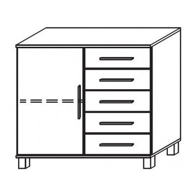 Venice 1 Door 5 Drawer Combi Chest Front Glass Overlay With High Feet Product Code: VEN1D5DCCGOFHF