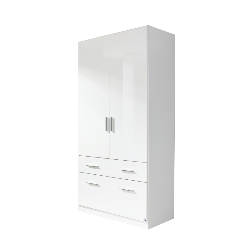 Celline High Gloss White 2 Door Wardrobe with Drawers
