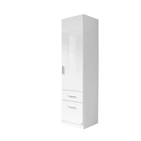 Celline High Gloss White 1 Door Wardrobe with Drawers
