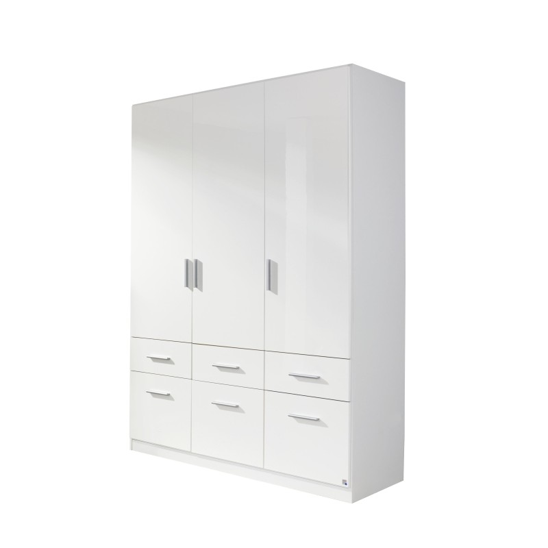 Celline High Gloss White 3 Door Wardrobe with Drawers