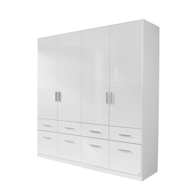 Celline High Gloss White 4 Door Wardrobe with Drawers