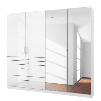 Rauch Homburg 4 door White gloss Wardrobe Mirrored