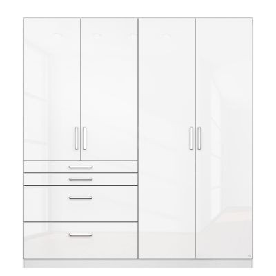 Rauch Homburg Grey 4 door White gloss Wardrobe