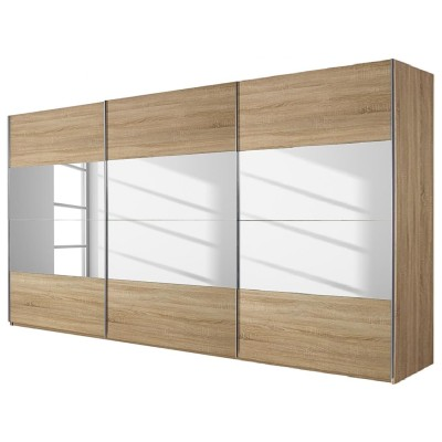 New York Sliding Door Wardrobe Mirrors and Sonoma Oak 315cm
