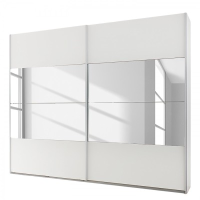 New York Sliding Door Wardrobe White with Mirror 136cm