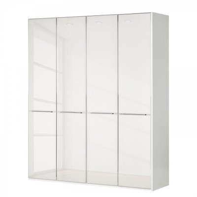 Wiemann Shanghai Wardrobe 4 door 200 cm White with White Glass