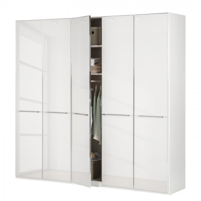Wiemann Shanghai Wardrobe 5 door 250 cm White with White Glass