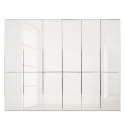 Wiemann Shanghai Wardrobe 6 door 300 cm White with White Glass