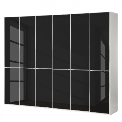 Wiemann Shanghai Wardrobe 6 door 300 cm White with Black Glass