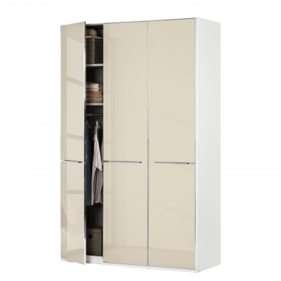 Wiemann Shanghai Wardrobe 3 door 150 cm White with Magnolia Glass
