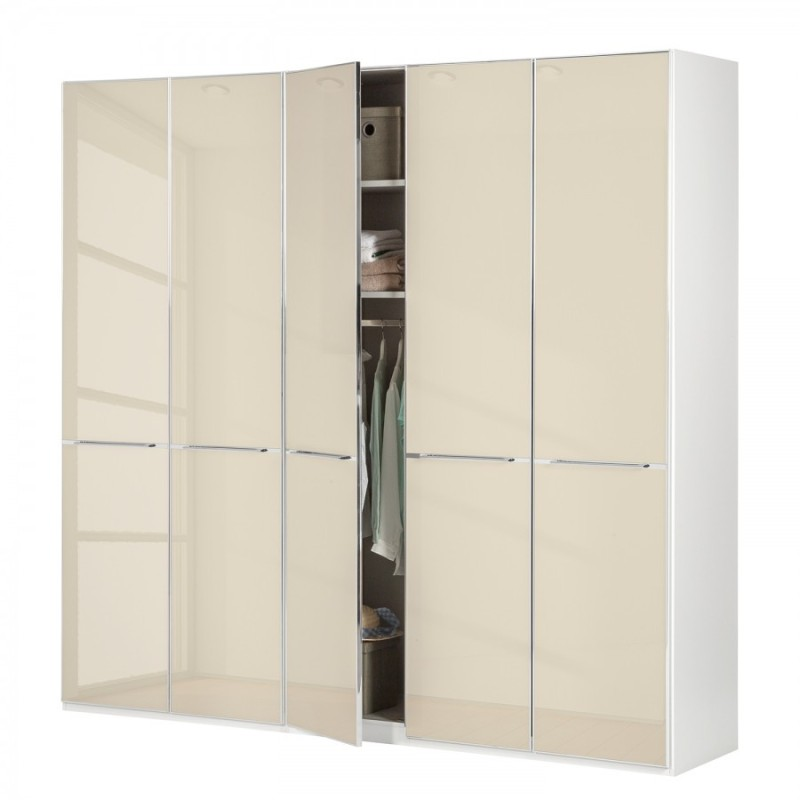 Wiemann Shanghai Wardrobe 5 door 250 cm White with Magnolia Glass
