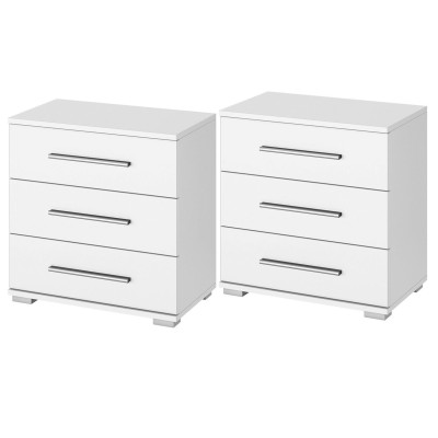 Venice Pair of 3 Drawer Bedside Table Wood Finish With Base Product Code: VENP3DBTWFB