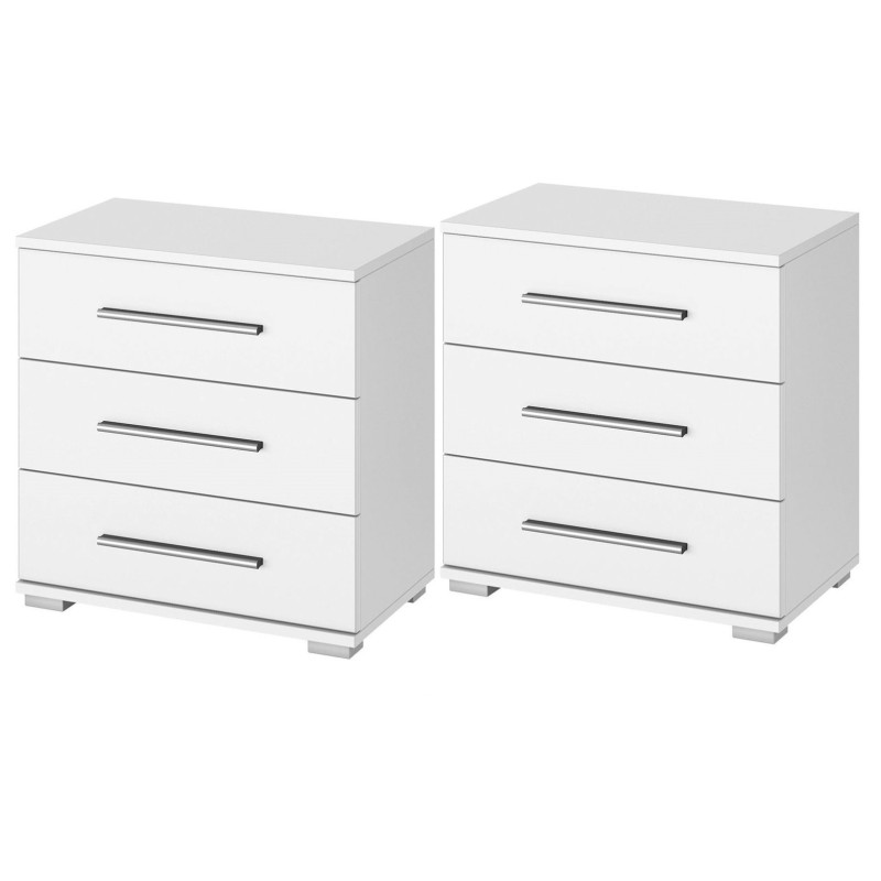 Venice Pair Of 3 Drawer Bedside Table Wood Finish With Base Product Code Venpbtwfb