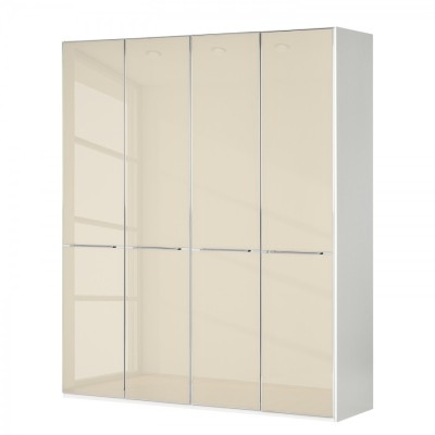 Wiemann Shanghai Wardrobe 4 door 200 cm White with Black Glass