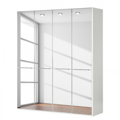 Wiemann Shanghai Wardrobe 4 door 200 cm White with Mirror Glass