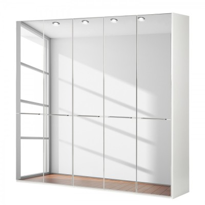 Wiemann Shanghai Wardrobe 5 door 250 cm White with Mirror Glass