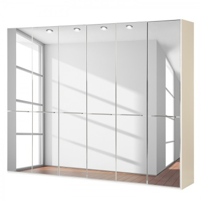 Wiemann Shanghai Wardrobe 6 door 300 cm White with Mirror Glass
