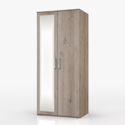 Minnesota 2 Door  with mirror Wardrobe Natural Oak