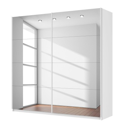 Rita 2 Door Sliding Wardrobe 225cm Front Full Mirrored Finish 223cm Tall