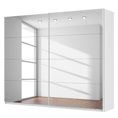 Rita 2 Door Sliding Wardrobe 270cm Front Full Mirrored Finish 223cm Tall
