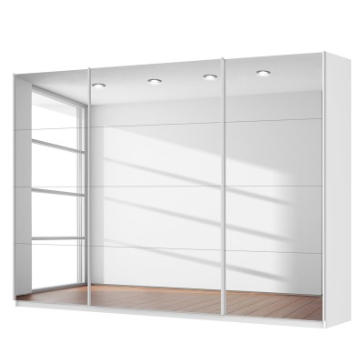 Rita 3 Door Sliding Wardrobe 315cm Front Full Mirrored Finish 223cm Tall