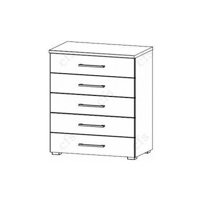 Plaza Bianco 5 Drawer Medium Chest