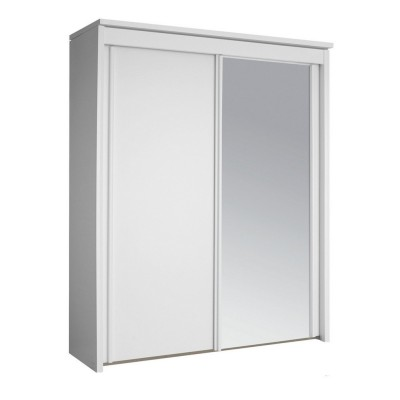 Plaza Bianco 2 Sliding Door Wardrobe 201cm With 1 Mirror Door