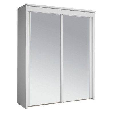 Fully mirrored 2 Sliding Door Wardrobe 201 Plain white plaza