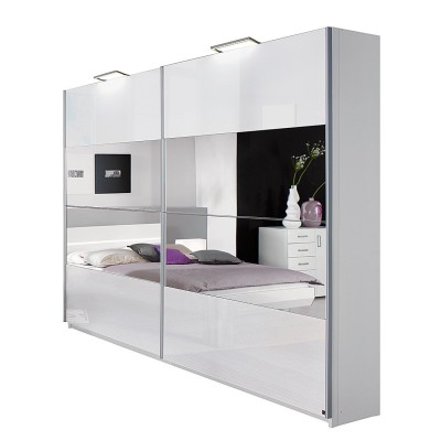 Rita Sliding Door Wardrobe High Gloss White with Stripe Mirrors 136cm
