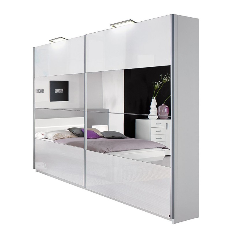 Rita Sliding Door Wardrobe 225cm High Gloss White with Stripe Mirrors