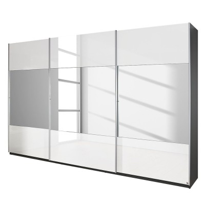 Rita Sliding Door Wardrobe High Gloss White with Stripe Mirrors 315cm