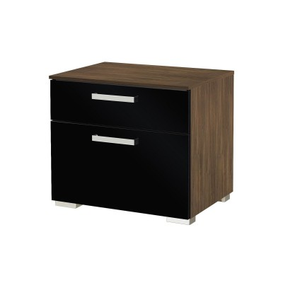 Brisbane 2 drawer Stirling Oak with Balck Gloss bedside