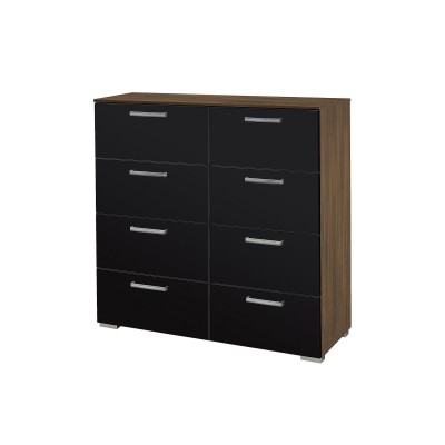 Brisbane 8 drawer Stirling Oak with Black Gloss tall Chest